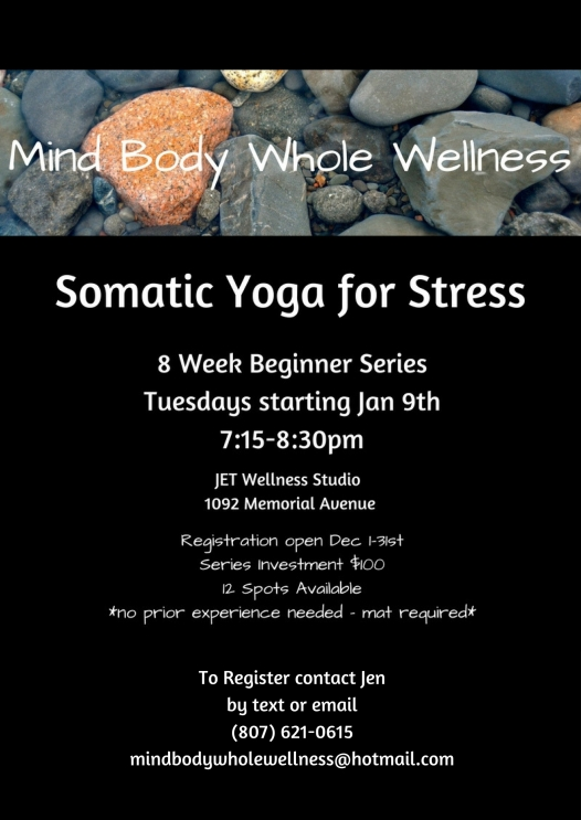 To Register contact Jenby text or email(807) 621-0615mindbodywholewellness@hotmail.com